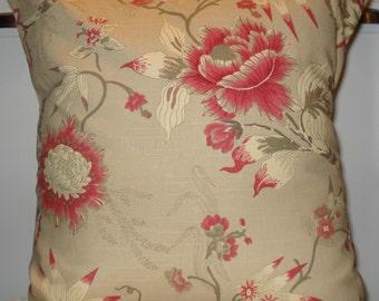 New 18x18 inch Designer Handmade Pillow Casein hot pink and khaki floral pattern.