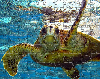 Sea Turtle 1 Zen Puzzle - Hand crafted, eco-friendly, American made artisanal wooden jigsaw puzzle