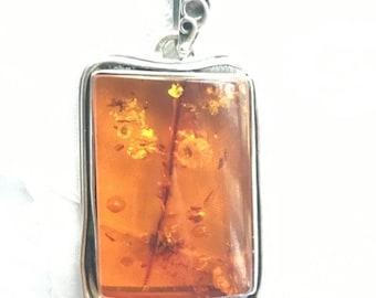 ON SALE Vintage .925 Sterling Silver Artisan Hand Crafted Orange Honey Amber Necklace Pendant