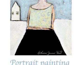 Girl Figure Painting Print. Winter Snowstorm Print. Christmas Art Gift for Women. Apartment Wall Art Prints