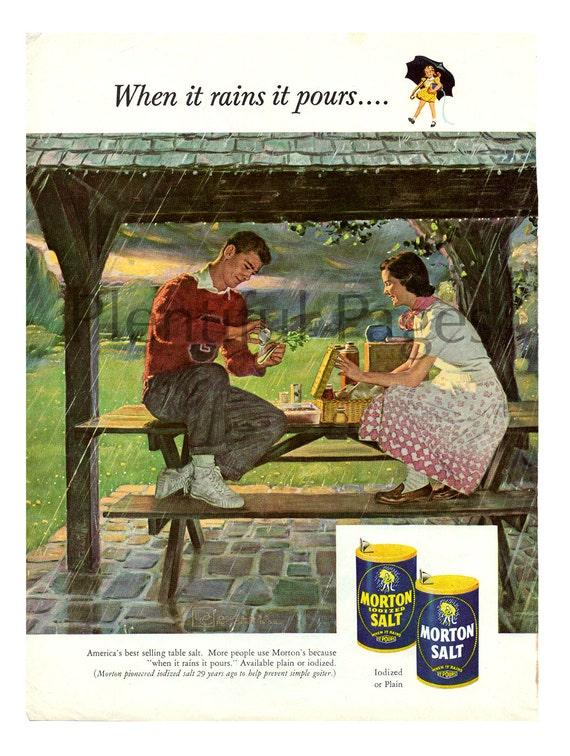 1953 Morton Salt Vintage Ad 1950s Couple Rainy Picnic