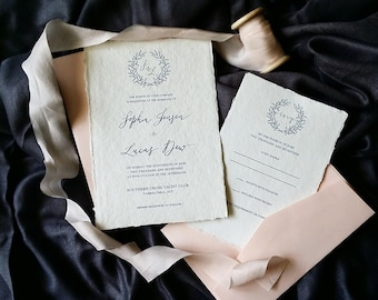 Indie Handmade Wedding or Engagement Invitation with Crown Wreath