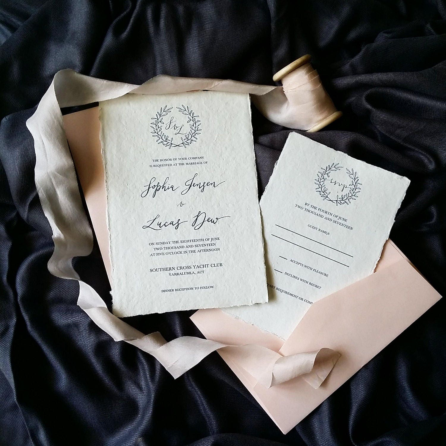 Indie Handmade Wedding or Engagement Invitation with Crown