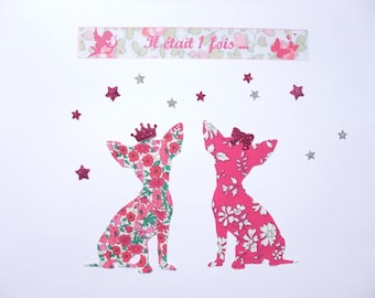 Applied fusible dogs chihuahuas liberty Capel fuchsia glitter flex patch iron on fusible liberty pink Petal and Bud