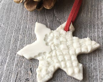 Ceramic Christmas decoration, handmade white porcelain Christmas ornament, white snowflake, Christmas tree decoration, Xmas decoration, OOAK