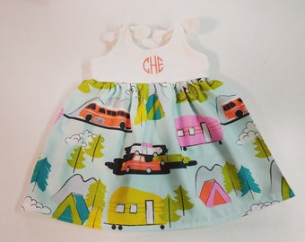 Camper Dress, Girls vintage camper dress, retro camper outfit, baby girls, monogrammed, summer fashion, glamping birthday, vacation dress