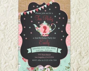 Tea Party Invitation, Birthday Tea Party, Shabby Chic Invitation, Tea Party Invite, Shabby Chic Birthday, Girls Tea Party, Chalkboard Tea