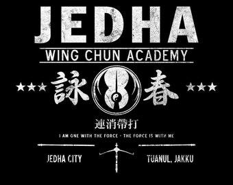 Jedha Wing Chun Academy - Chirrut Imwe Martial Arts Rebel Men's Unisex T-Shirt -  1970's Movie Sci-Fi Parody Clothing