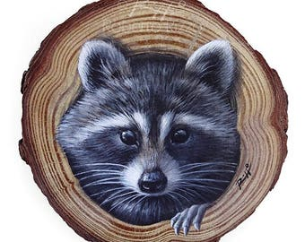 A Sweet Raccon Coming Out from Its Lair, a Unique Wood Slice Painting by Roberto Rizzo! Original Art 100% Hand Painted!