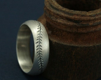 America's Pastime Oxidized Finish--6mm Wide--Sterling Silver--Baseball Ring--Hand Cut Baseball Pattern--Hand Made Ring--Men's Wedding Band