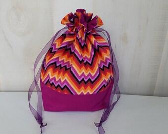Sock Project Bag: Purple/Orange Waves