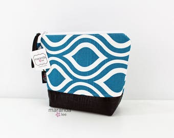 AVA Medium Clutch -  Teal Pod with PU Leather READY to SHIp Cosmetic bag Travel Make Up Zipper Pouch