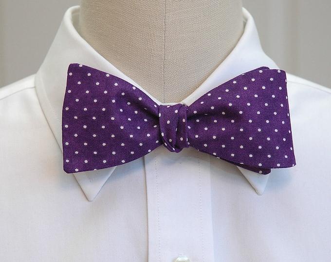 Men's Bow Tie, purple & white pin dots bow tie, deep purple bow tie, purple wedding bow tie, groom bow tie, groomsmen gift, prom bow tie,