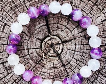 Beautiful Handmade Amithyst and white Quartzite Bracelet