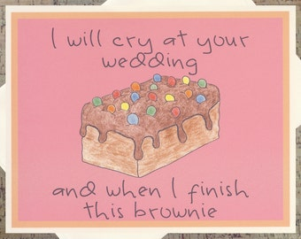 Funny Wedding Card, Chocolate Card, Mother Daughter, Friendship Card, Parenting Card, Foodie Card, Brownie Card, Chocolate Lover, Humor Card