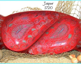 Paisley Henna Design, Hand Embellished Wood Trinket Tray, original art, *red background* #1720