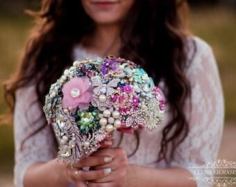 Brooch Bouquet. diamant silver pink blue green Bouquet, Unique Wedding Bridal Bouquet