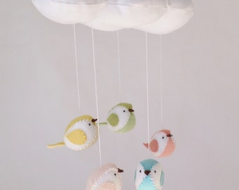 Baby mobile  - Cloud and birds nursery decoration - custom made mobile