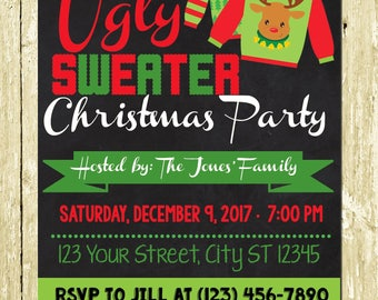 Ugly Christmas Sweater Digital Christmas Invitations