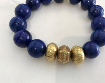 Handmade bracelet from stone and lapiz and gold and vermiel