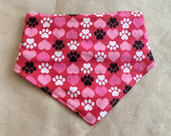 Paws n' Hearts Red CUSTOM MADE Dog or Cat Bandana