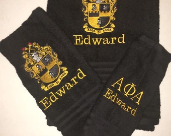 Alpha Phi Alpha Fraternity 3 Piece Personalized Bath Towel Set