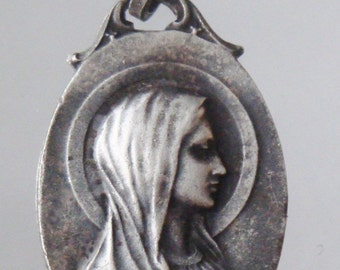 """Vintage Lourdes Religious Medal Pendant on 18"""" sterling silver rolo chain"""