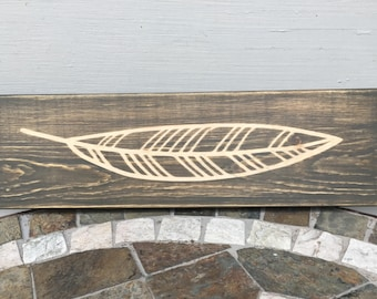 Feather Decor, Leaf Decor, Rustic Decor, Word Block