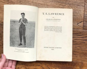 Vintage book, antique book, lawrence of arabia, biography, vintage biography, shelf styling, gifts for him, gifts for her, 1930s