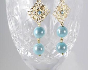 Teal Dangle Earrings by HmadebytheCottrells, Dangle Earrings, Iridencence Earrings, Light Teal Dangles, Gold & Teal Earrings, Filigree