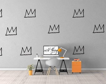 Basquiat Crown Wall Pattern Decal / Basquiat Art / Home Decor / Wall Sticker / Wall Decal