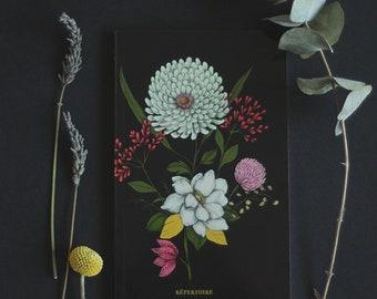 "Address Book - Alphabetical - address organizer - ""Flora Black"""