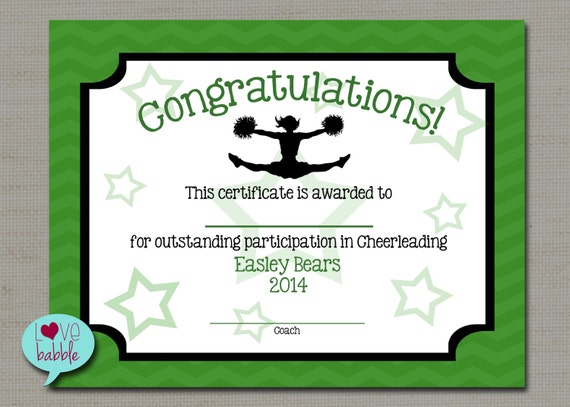 Cheerleading cheer award certificate dance gymnastics award like this item yadclub Images