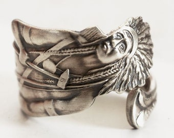 Rare Native American Ring, Sterling Silver Spoon Ring, Indian Headdress, Indian Chief Ring, Southwestern Handmade Gift, Custom Size (8000)