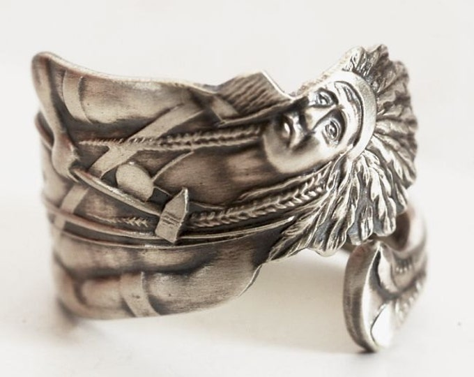 Rare Native American Ring, Sterling Silver Spoon Ring, Indian Headdress, Indian Chief Ring, Southwestern Handmade Gift, Custom Size (6617