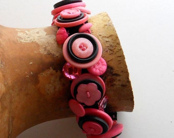 Pink and Black Snappie Button Bracelet