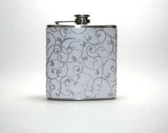 White and Silver Ribbon Sparkly Glitter 6 oz Size Stainless Steel Liquor Hip Flask Flasks Weddings Bridesmaids Gift Idea