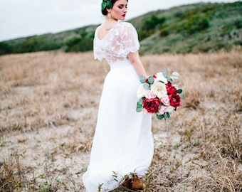 Pammy, Gatsby Wedding Dress, Lace Cowl Back, and Chiffon