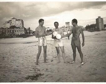 "Vintage Snapshot ""Balloon Fun"" Cute Shirtless Guys On The Beach Dramatic Sky Found Vernacular Photo"