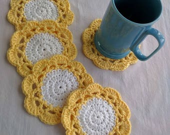 Crocheted Yellow & White Coasters, Set of 5