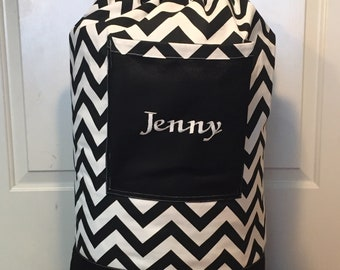 Monogrammed Laundry Duffel Bag, Black, Black & White Chevron, Laundry Bag, Laundry Bag for College, Hanging Laundry Bag, Laundry Hamper