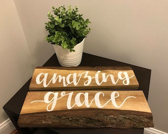 Amazing Grace, reclaimed black walnut sign, live-edge