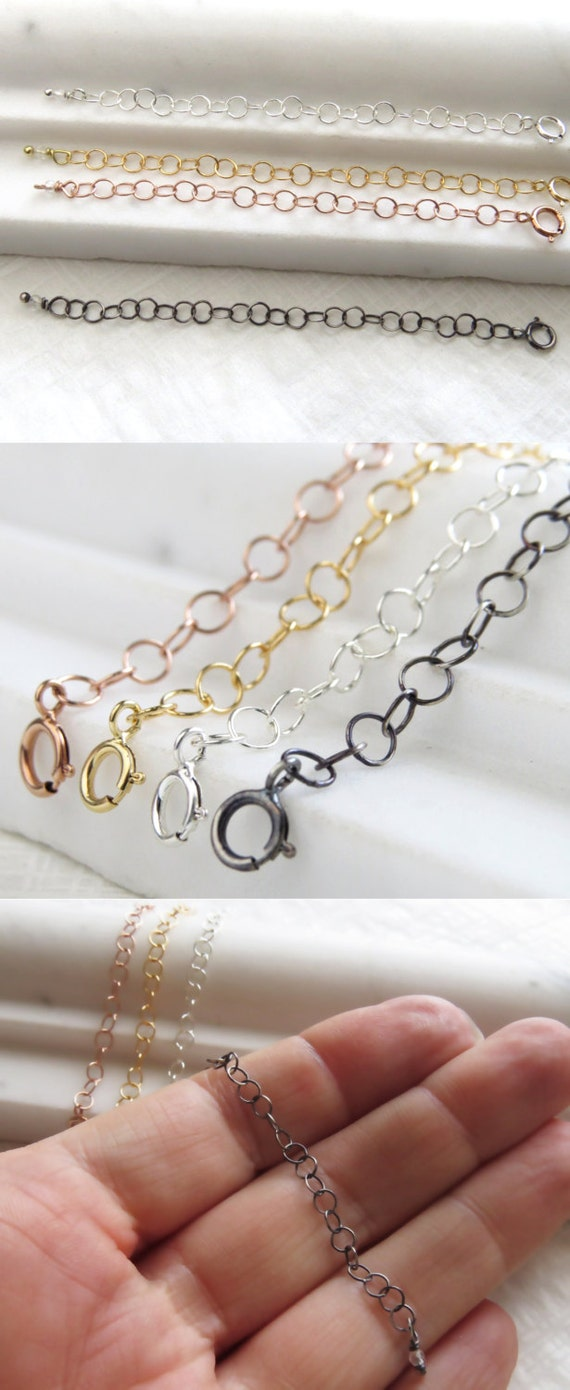 Necklace Extender Yellow Gold Rose Gold Silver Black