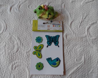 set of 5 fusible applique iron-on and sew in the shape of butterflies and flower