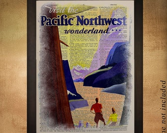 Pacific Northwest Dictionary Art Print, Oregon Washington Seattle Portland Travel Poster Wall Art Home Decor da543