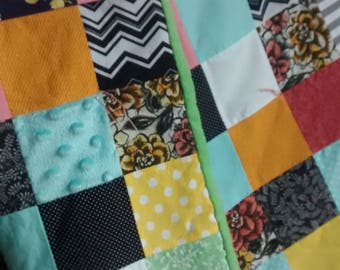 Patchwork Square Baby Quilt - Baby Quilt - Crib Size - Handmade - Gender Neutral - Baby Shower Gift