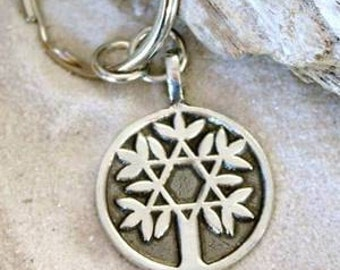 Pewter Tree of Life with Star of David Keychain Key Ring (48D-KC)