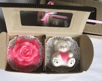 Gift Set Soap - 2 soaps, creative handmade soap, soap bear, polar bear, rose soap, cute soap set, coconut and strawberry, gift to the girl