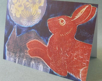 5 x 7 Notecard - A020 RABBIT to the MOON // rabbit card / rabbit print / rabbit art / animal card / moon card / moon art / bunny