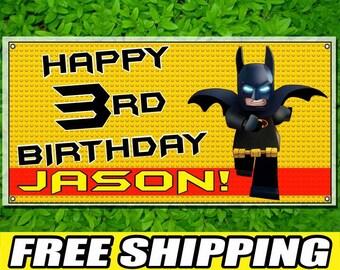 Lego Batman Printed Banner Personalized Custom Name Vinyl Banner Happy Birthday Banner